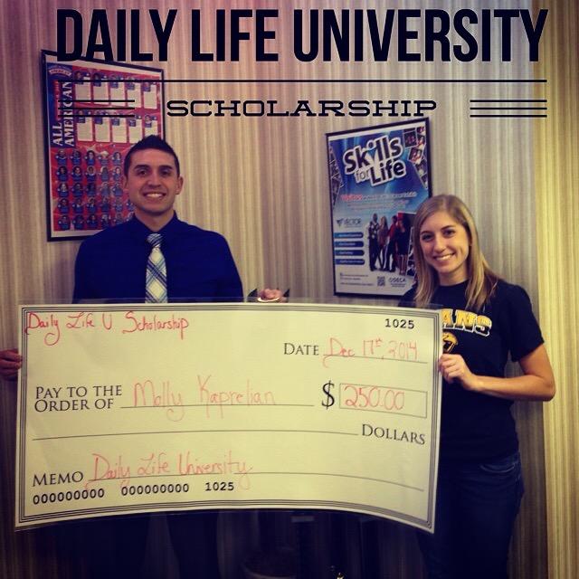 First recipient (Molly Kaprelian of UW-Oshkosh) of the Daily Life University Scholarship December 2014